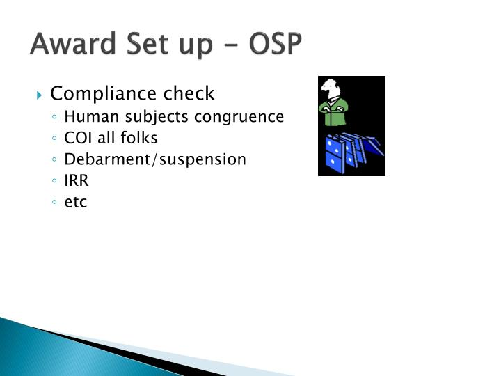 Award Set up - OSP