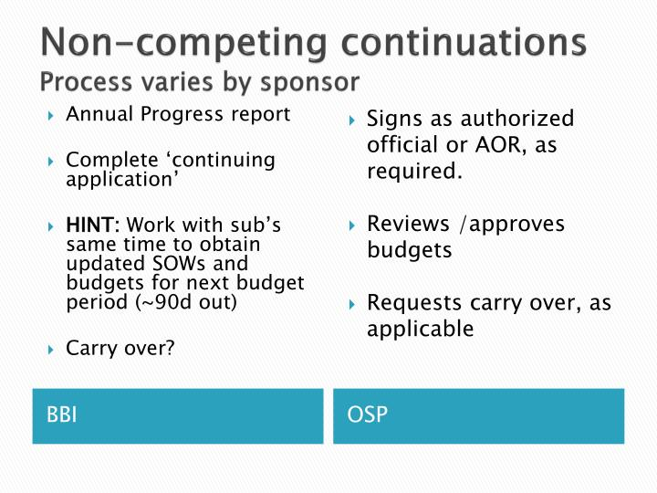 Non-competing continuations
