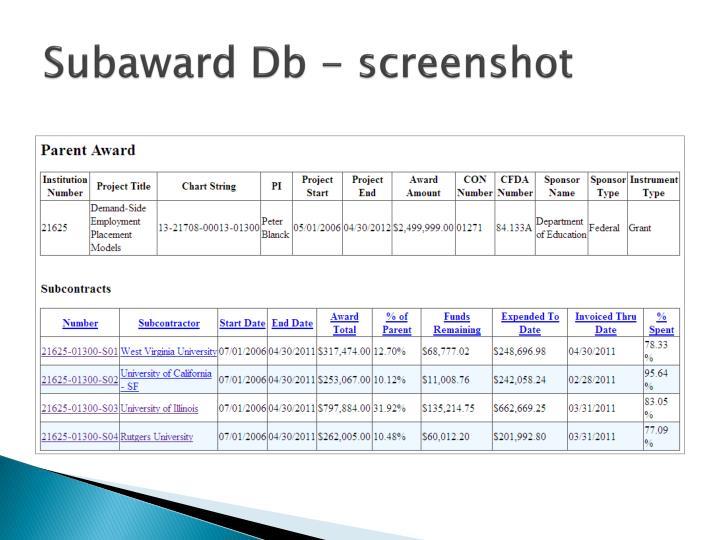 Subaward Db - screenshot