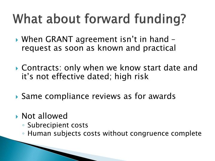 What about forward funding?