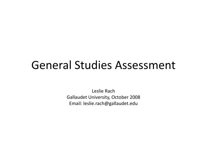 general studies assessment n.