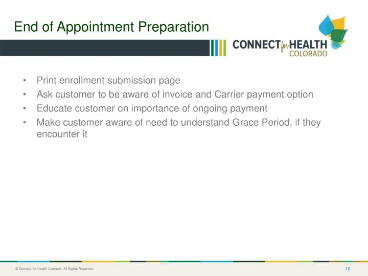 End of Appointment Preparation
