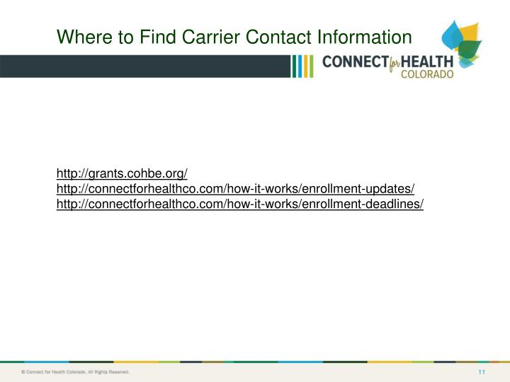 Where to Find Carrier Contact Information
