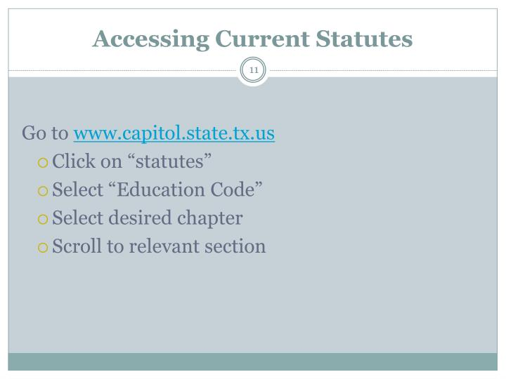 Accessing Current Statutes
