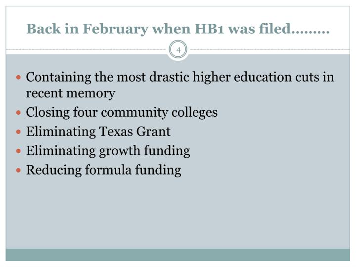 Back in February when HB1 was filed………