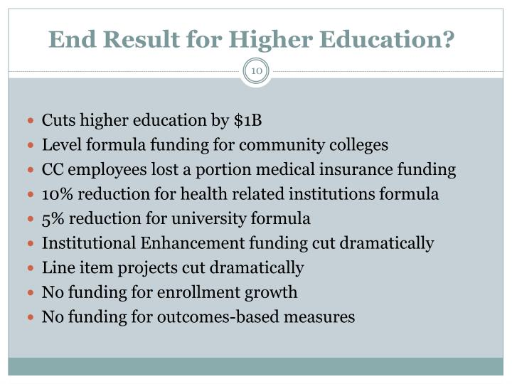 End Result for Higher Education?