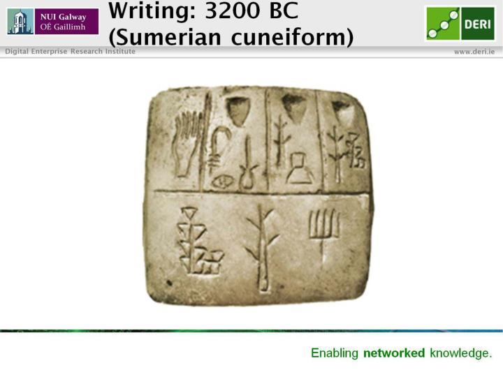 Writing 3200 bc sumerian cuneiform
