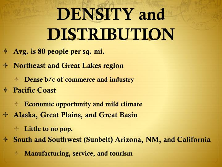 DENSITY and DISTRIBUTION