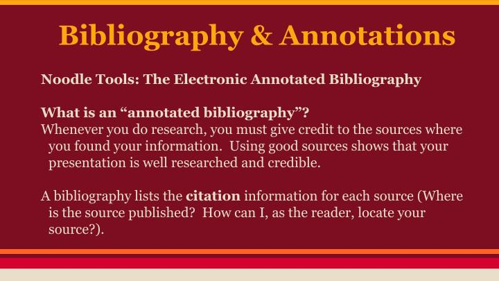 Bibliography & Annotations