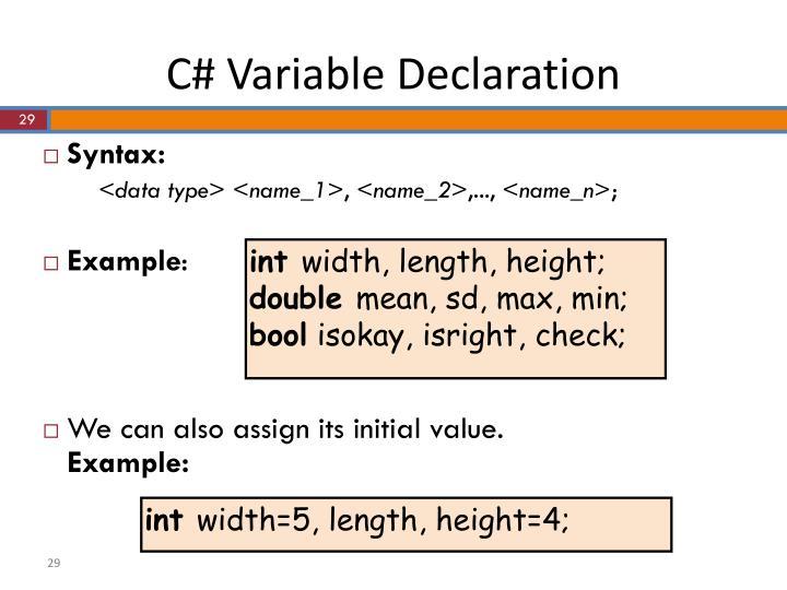 C# Variable Declaration