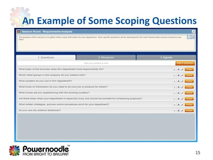 An Example of Some Scoping Questions