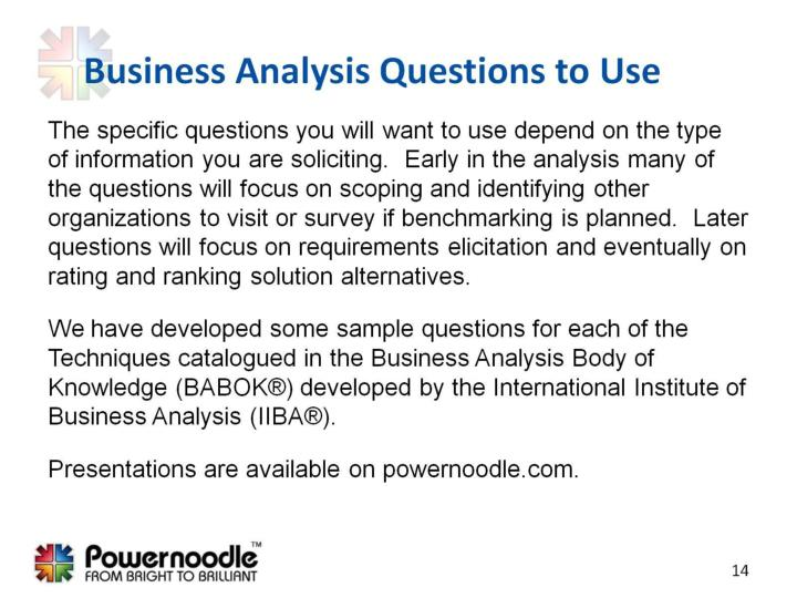 Business Analysis Questions to Use