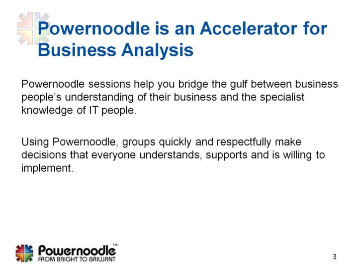 Powernoodle is an accelerator for business analysis