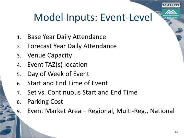 Model Inputs: Event-Level