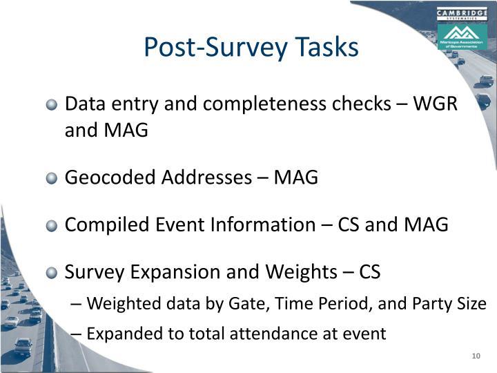 Post-Survey Tasks
