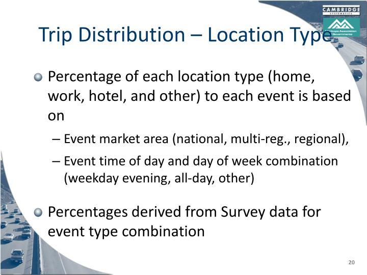 Trip Distribution – Location Type
