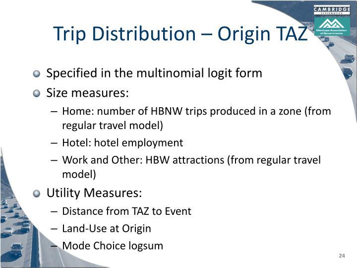 Trip Distribution – Origin TAZ