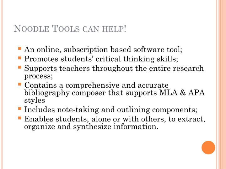 Noodle Tools can help!