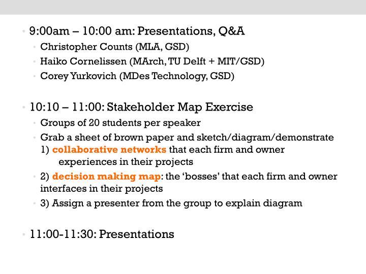 9:00am – 10:00 am: Presentations, Q&A