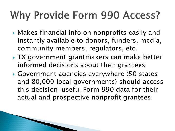 Why Provide Form 990 Access?