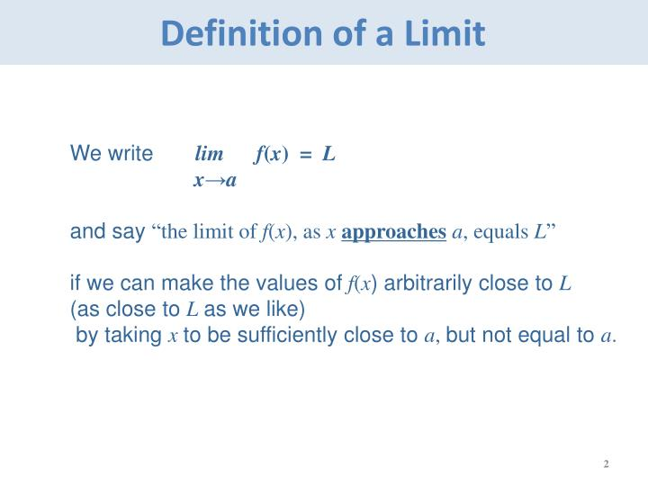 Definition of a limit