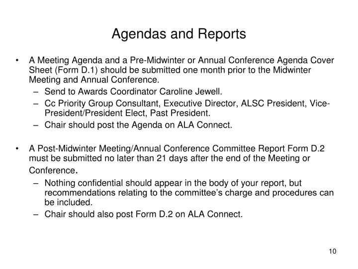 Agendas and Reports