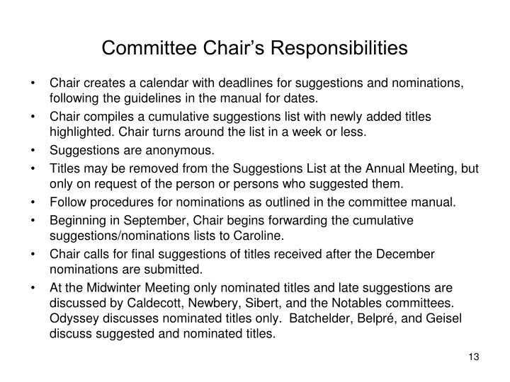 Committee Chair's Responsibilities