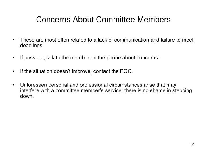 Concerns About Committee Members