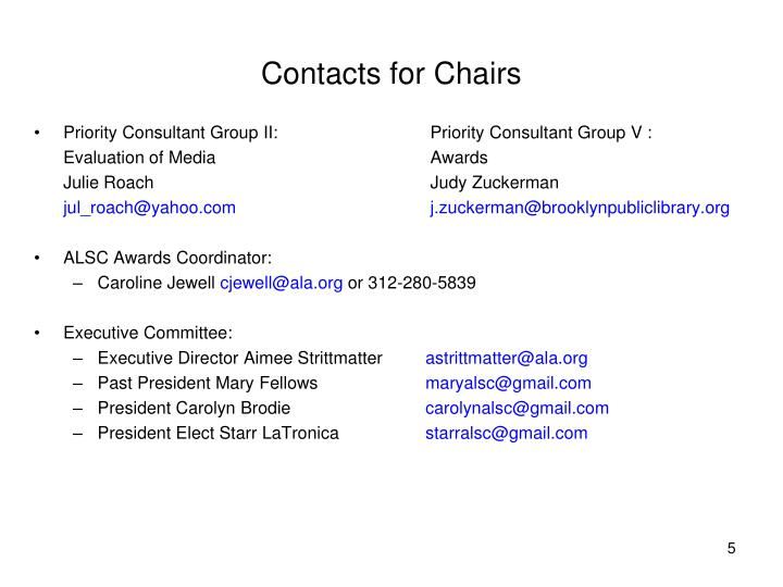 Contacts for Chairs