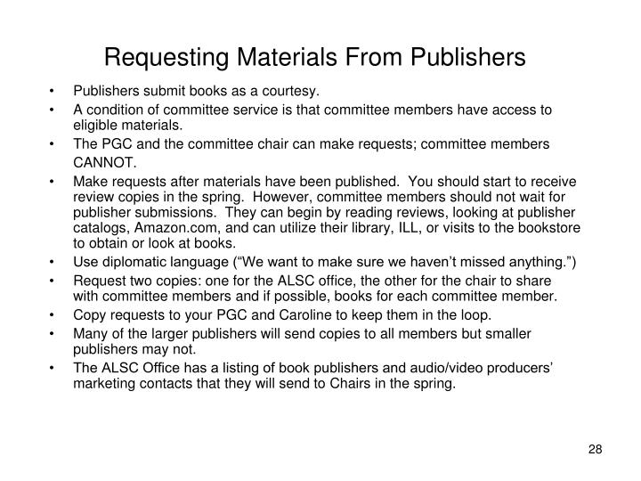 Requesting Materials From Publishers