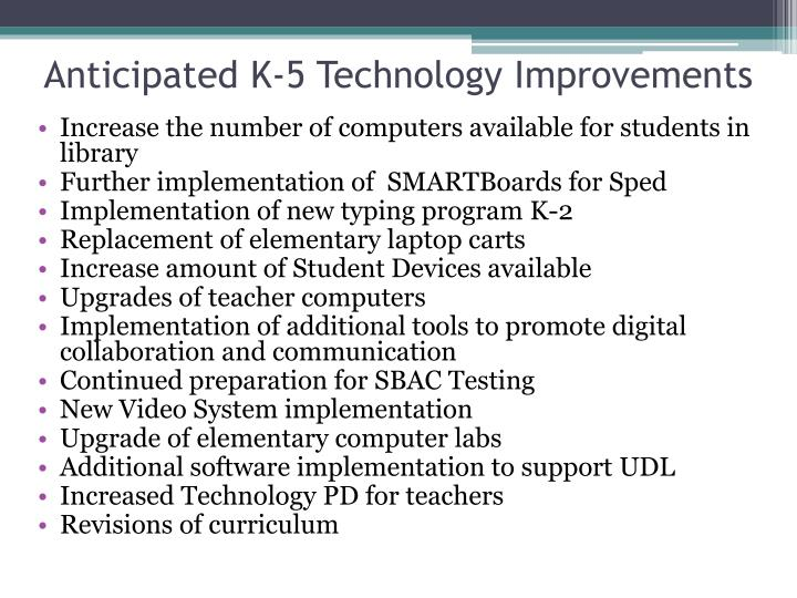 Anticipated K-5 Technology Improvements