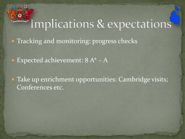 Implications & expectations