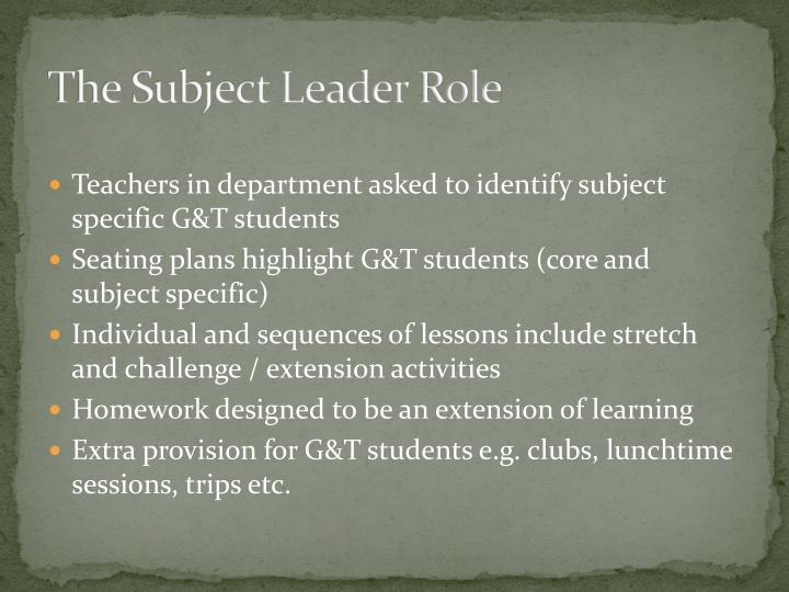 The Subject Leader Role