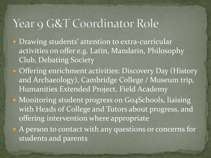 Year 9 G&T Coordinator Role