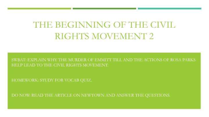 the beginning of the civil rights movement 2 n.