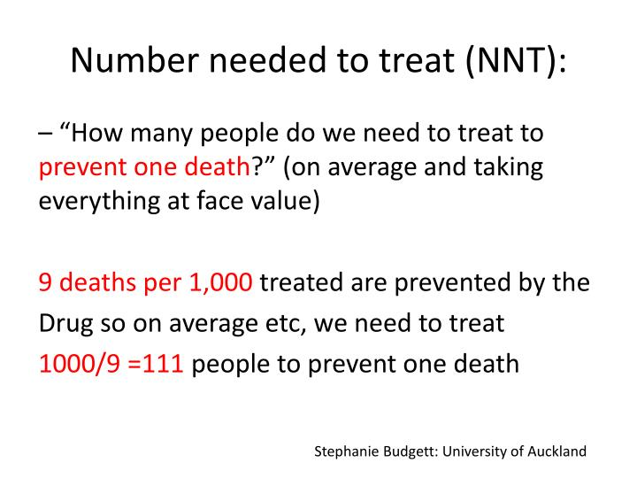 Number needed to treat (NNT)