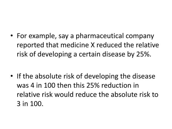 For example, say a pharmaceutical company reported that medicine X reduced the relative risk of developing a certain disease by 25%.