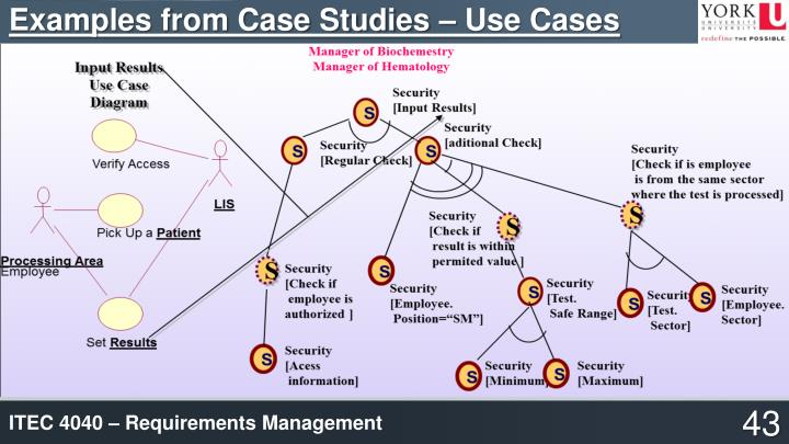 Examples from Case Studies – Use Cases