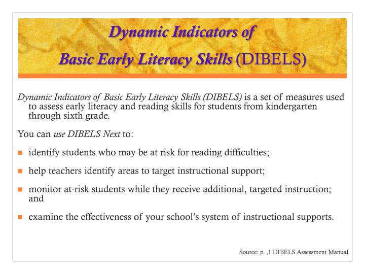 Dynamic indicators of basic early literacy skills dibels