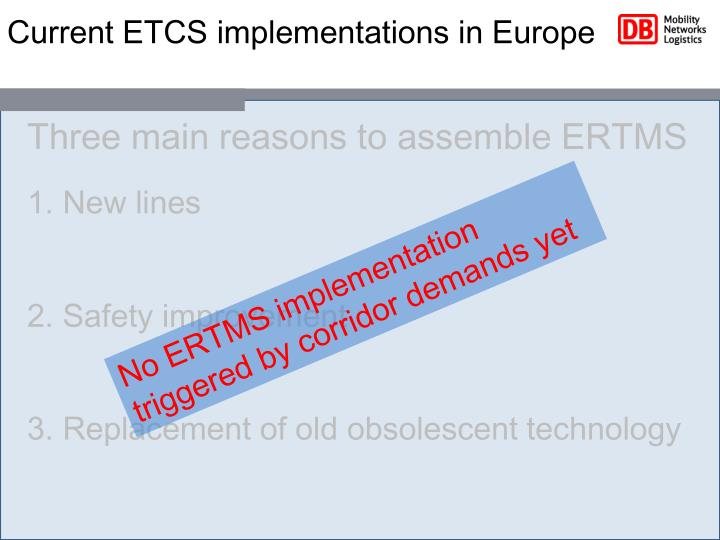 Current ETCS implementations in Europe
