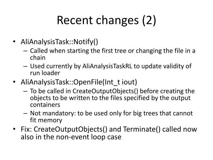 Recent changes (2)