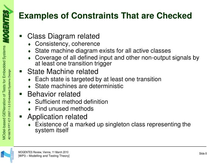 Examples of Constraints That are Checked