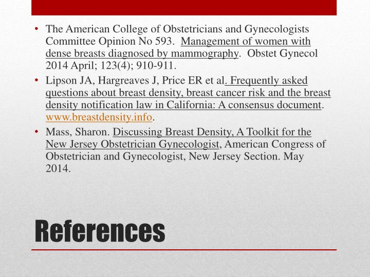 The American College of Obstetricians and Gynecologists Committee Opinion No 593.