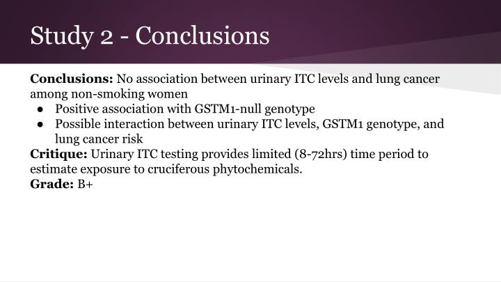 Study 2 - Conclusions