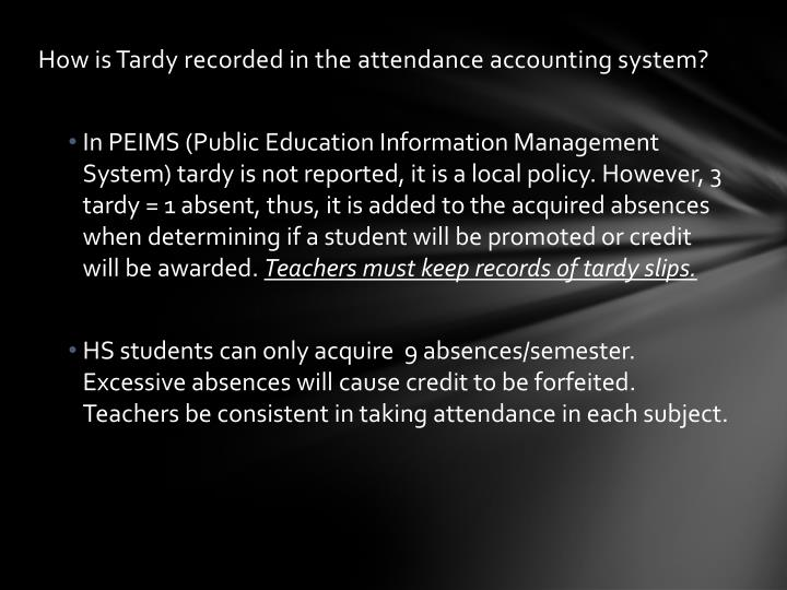 How is Tardy recorded in the attendance accounting system?