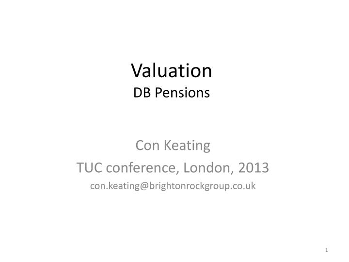 Valuation db pensions
