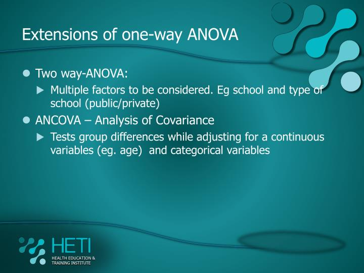 Extensions of one-way ANOVA