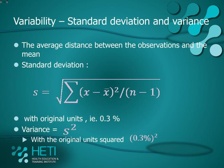 Variability – Standard deviation and variance