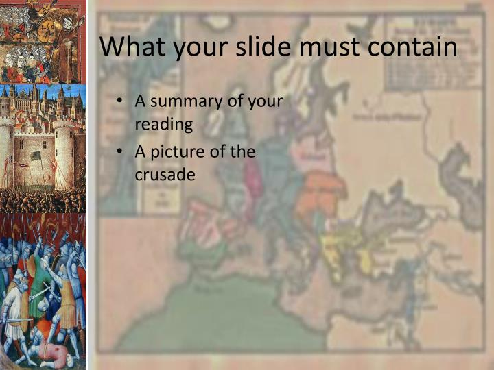 What your slide must contain