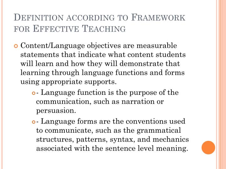 Definition according to Framework for Effective Teaching